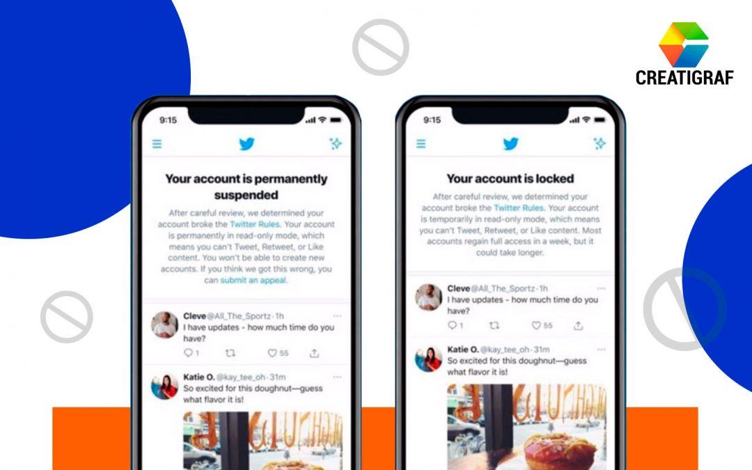 Twitter introduce avisos para notificar de forma clara de la suspensión